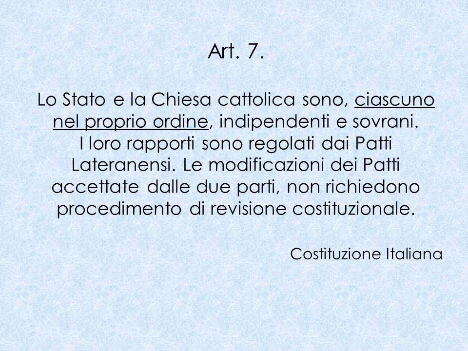 PATTI LATERANENSI 1929 Cardinale Pietro Gasparri Benito Mussolini 1984 Cardinale Agostino Casaroli Bettino Craxi