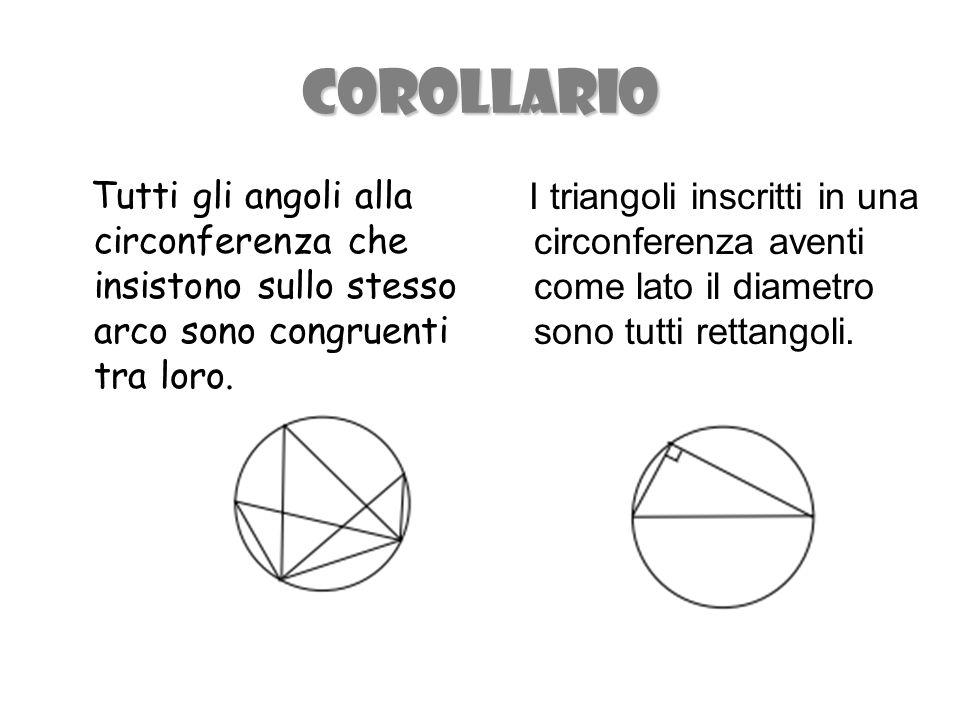 COROLLARIO Tutti gli angoli alla circonferenza che insistono sullo stesso arco sono congruenti tra loro.