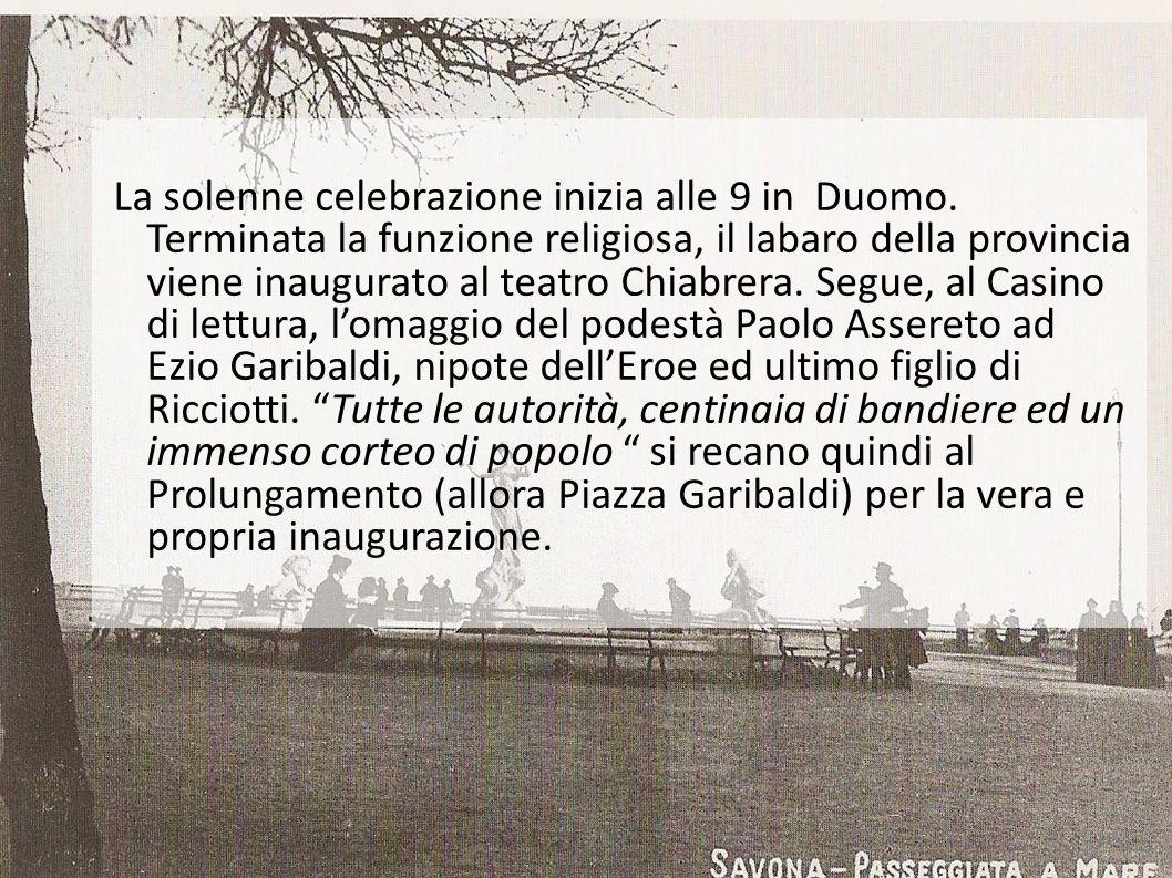 La solenne celebrazione inizia alle 9 in Duomo. Terminata la funzione religiosa, il labaro della provincia viene inaugurato al teatro Chiabrera. Segue