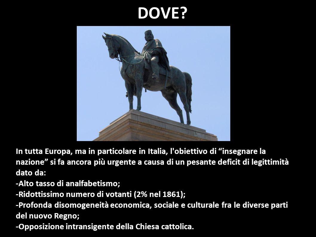 In tutta Europa, ma in particolare in Italia, l'obiettivo di insegnare la nazione si fa ancora più urgente a causa di un pesante deficit di legittimit