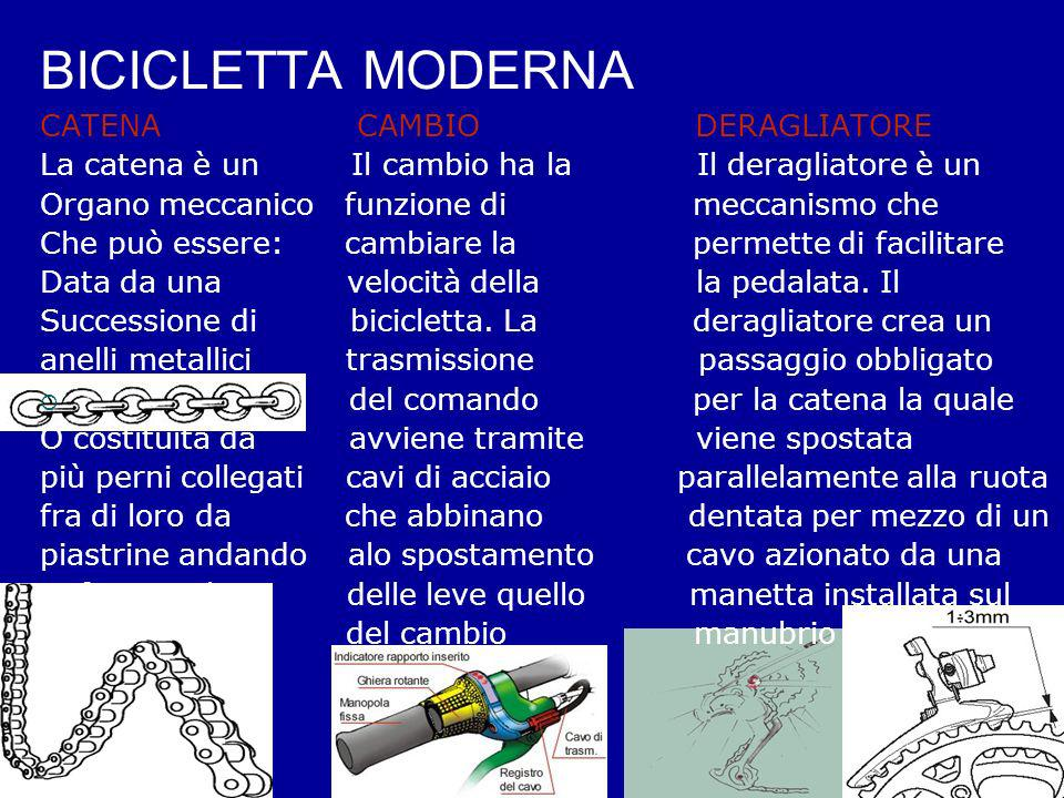 BICICLETTA MODERNA CATENA CAMBIO DERAGLIATORE La catena è un Il cambio ha la Il deragliatore è un Organo meccanico funzione di meccanismo che Che può