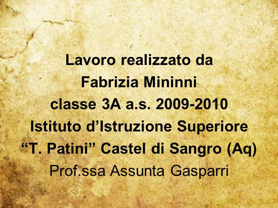 Lavoro realizzato da Fabrizia Mininni classe 3A a.s.