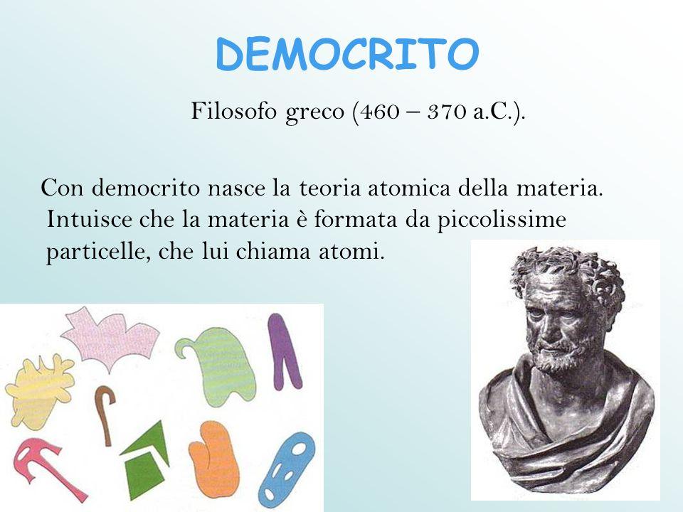 DEMOCRITO Filosofo greco (460 – 370 a.C.). Con democrito nasce la teoria atomica della materia. Intuisce che la materia è formata da piccolissime part