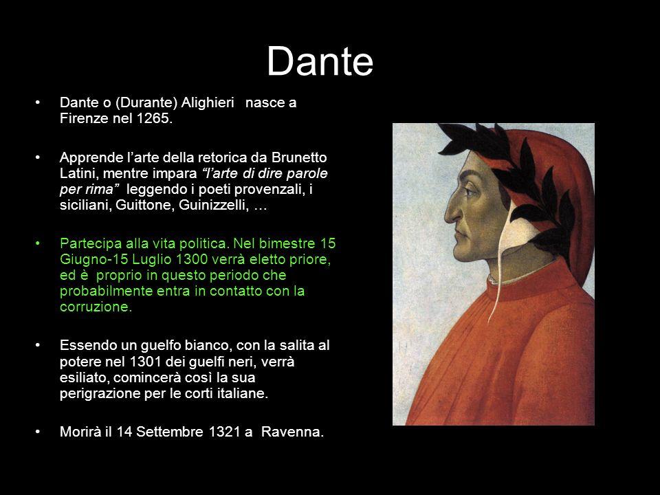 Dante Dante o (Durante) Alighieri nasce a Firenze nel 1265. Apprende larte della retorica da Brunetto Latini, mentre impara larte di dire parole per r
