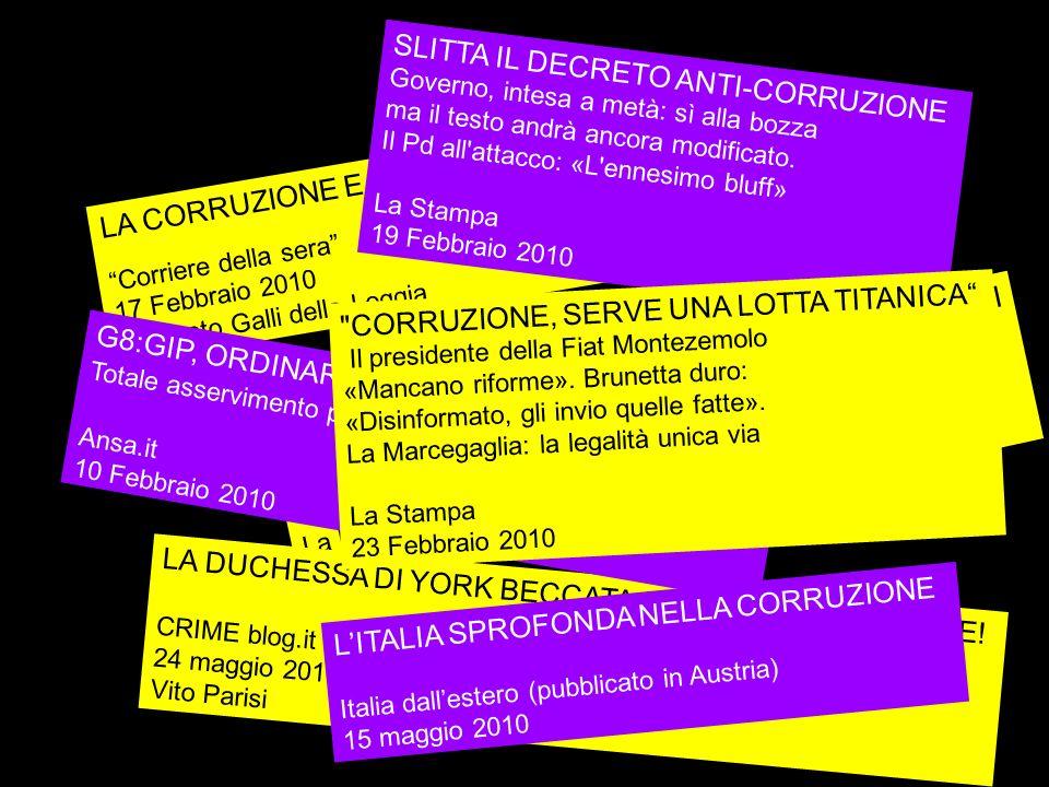 LA CORRUZIONE E LE SUE RADICI Corriere della sera 17 Febbraio 2010 Ernesto Galli della Loggia CORRUZIONE, L'ALLARME DELLA CORTE DEI CONTI Nel 2009 le