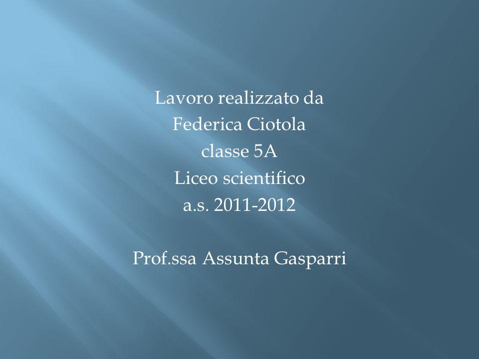 Lavoro realizzato da Federica Ciotola classe 5A Liceo scientifico a.s. 2011-2012 Prof.ssa Assunta Gasparri