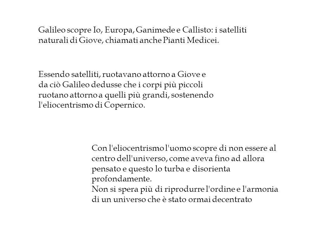 Galileo scopre Io, Europa, Ganimede e Callisto: i satelliti naturali di Giove, chiamati anche Pianti Medicei.