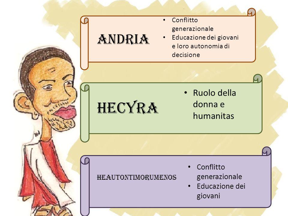 ANDRIA Conflitto generazionale Educazione dei giovani e loro autonomia di decisione Hecyra Ruolo della donna e humanitas Heautontimorumenos Conflitto