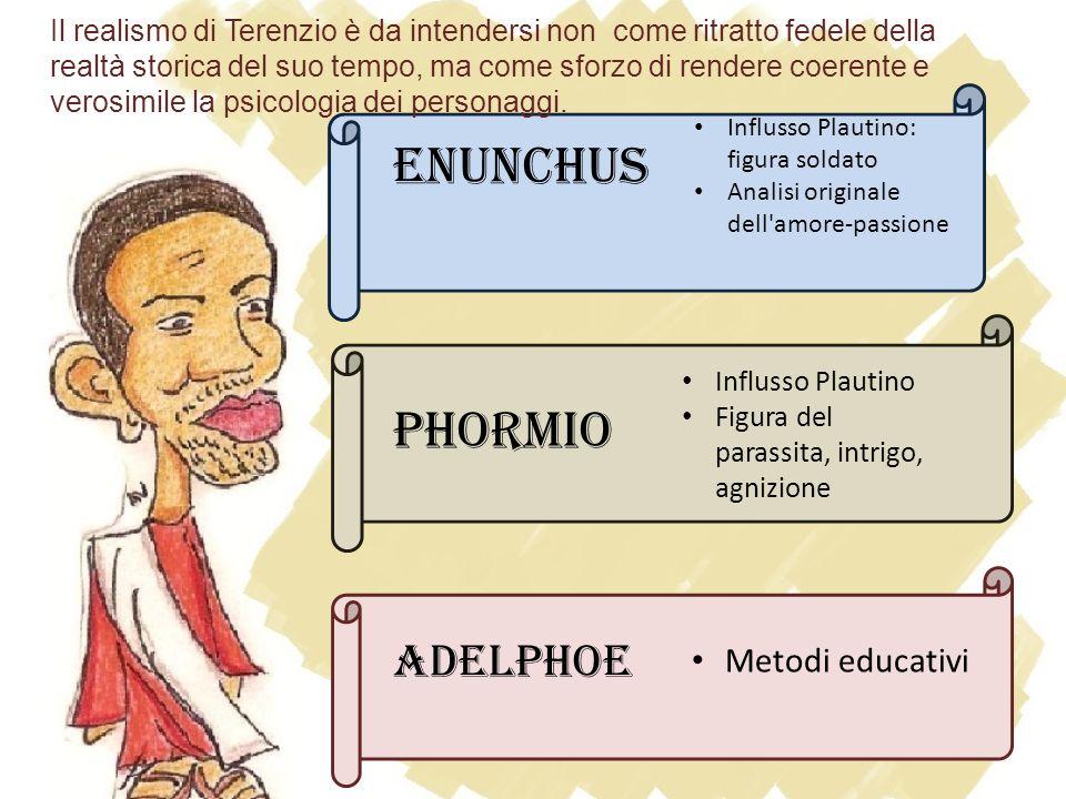 Enunchus Influsso Plautino: figura soldato Analisi originale dell'amore-passione Phormio Influsso Plautino Figura del parassita, intrigo, agnizione Ad