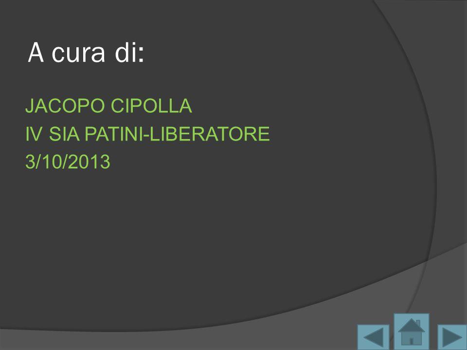 JACOPO CIPOLLA IV SIA PATINI-LIBERATORE 3/10/2013 A cura di: