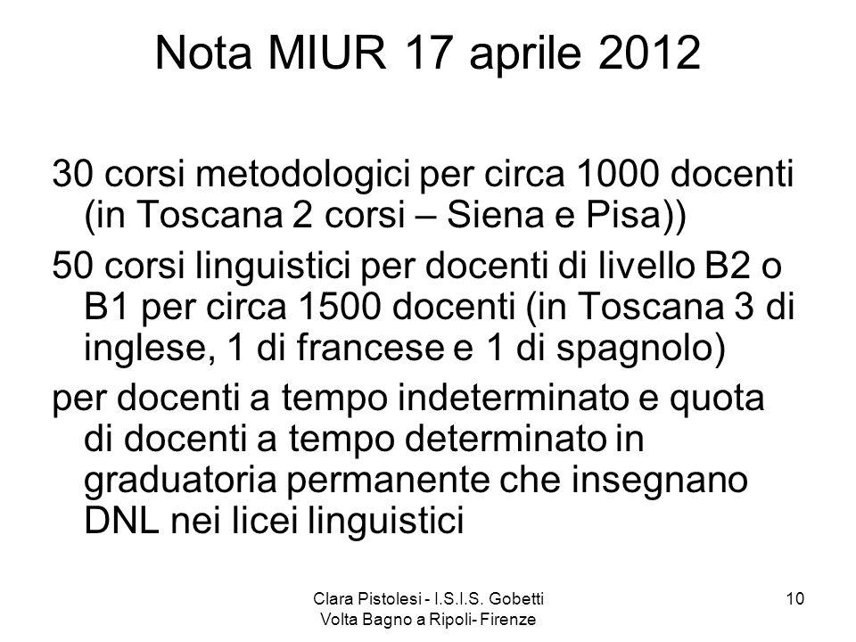 Clara Pistolesi - I.S.I.S. Gobetti Volta Bagno a Ripoli- Firenze 10 Nota MIUR 17 aprile 2012 30 corsi metodologici per circa 1000 docenti (in Toscana