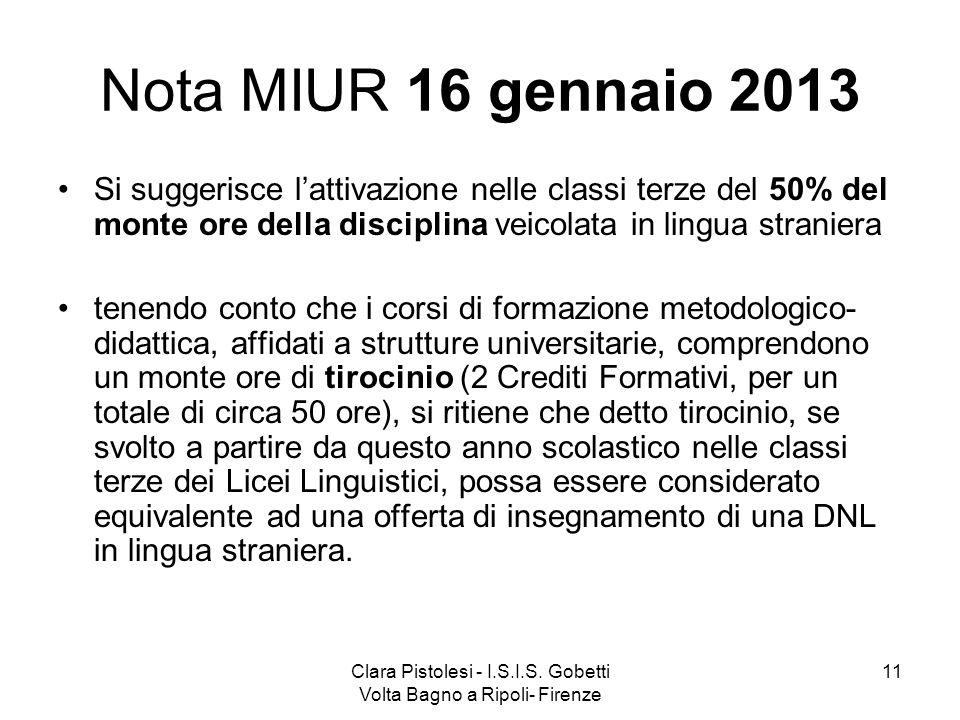 Clara Pistolesi - I.S.I.S. Gobetti Volta Bagno a Ripoli- Firenze 11 Nota MIUR 16 gennaio 2013 Si suggerisce lattivazione nelle classi terze del 50% de