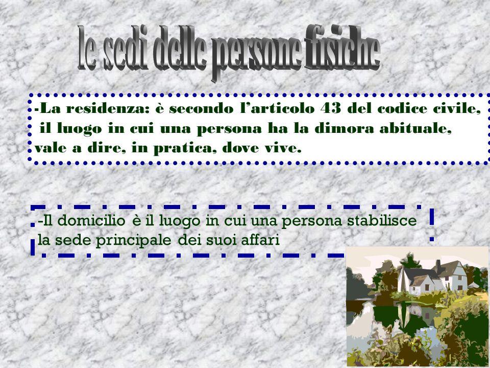 - La residenza: è secondo larticolo 43 del codice civile, il luogo in cui una persona ha la dimora abituale, vale a dire, in pratica, dove vive. -Il d