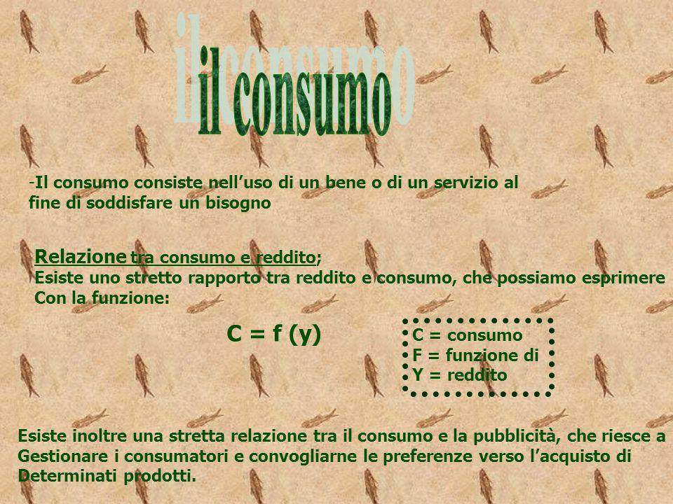 -Il consumo consiste nelluso di un bene o di un servizio al fine di soddisfare un bisogno Relazione tra consumo e reddito; Esiste uno stretto rapporto