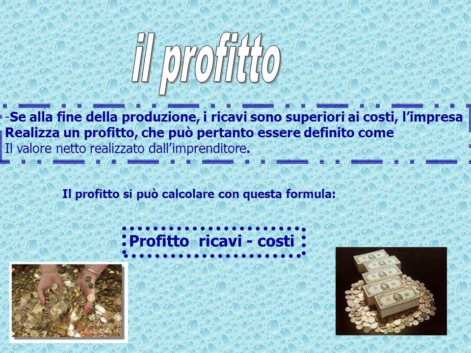 -Se alla fine della produzione, i ricavi sono superiori ai costi, limpresa Realizza un profitto, che può pertanto essere definito come Il valore netto