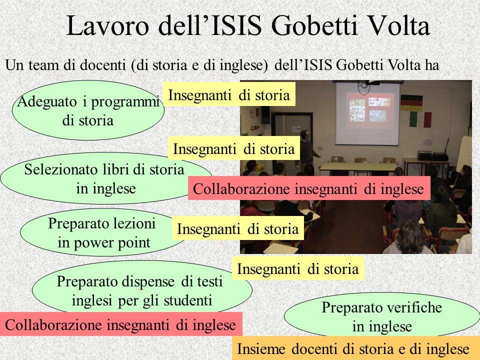 Lavoro dellISIS Gobetti Volta Un team di docenti (di storia e di inglese) dellISIS Gobetti Volta ha Selezionato libri di storia in inglese Preparato l