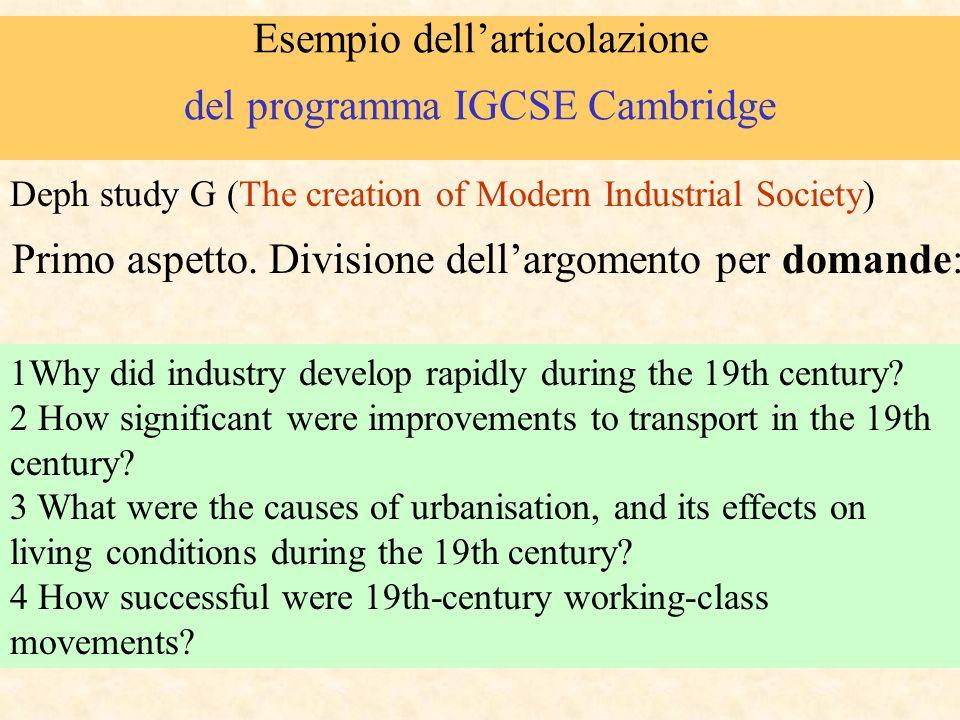Esempio dellarticolazione del programma IGCSE Cambridge 1Why did industry develop rapidly during the 19th century? 2 How significant were improvements