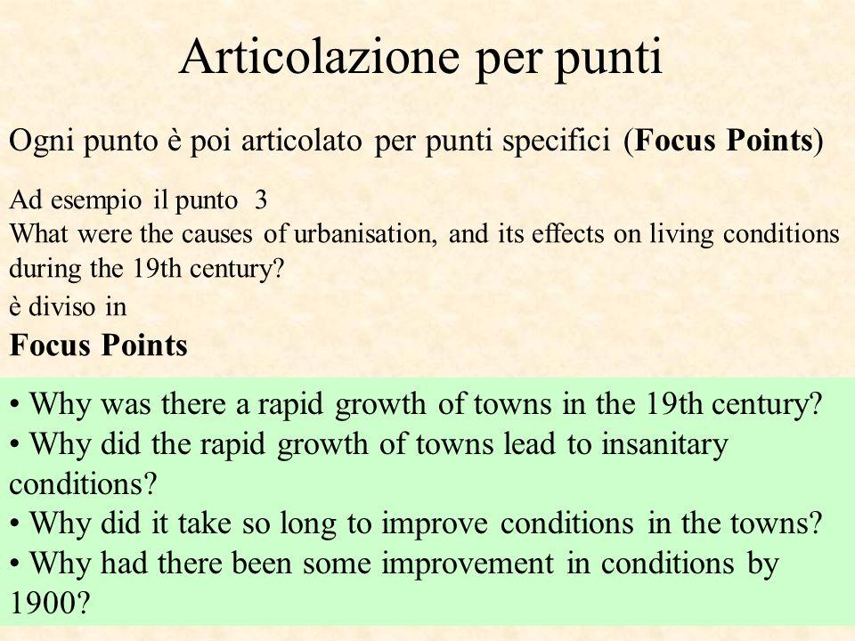Articolazione per punti Ogni punto è poi articolato per punti specifici (Focus Points) Ad esempio il punto 3 What were the causes of urbanisation, and