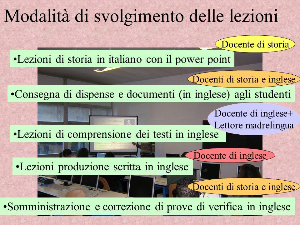 Modalità di svolgimento delle lezioni Lezioni di storia in italiano con il power point Consegna di dispense e documenti (in inglese) agli studenti Lez