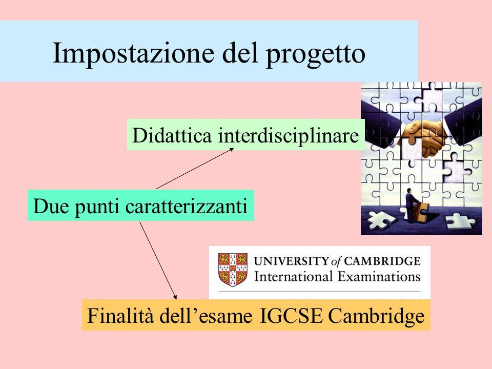 Impostazione del progetto Due punti caratterizzanti Didattica interdisciplinare Finalità dellesame IGCSE Cambridge