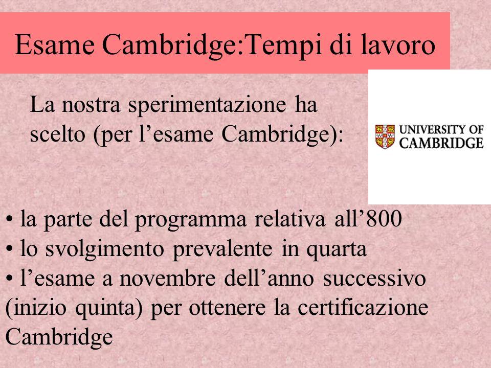Esame Cambridge:Tempi di lavoro la parte del programma relativa all800 lo svolgimento prevalente in quarta lesame a novembre dellanno successivo (iniz