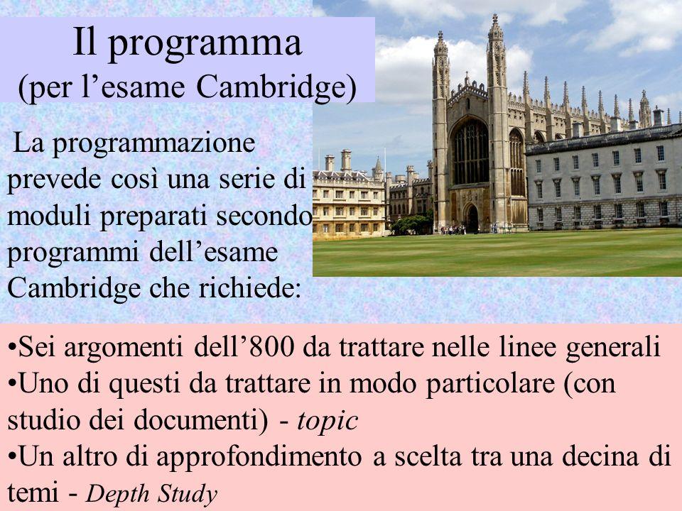 La programmazione prevede così una serie di moduli preparati secondo i programmi dellesame Cambridge che richiede: Sei argomenti dell800 da trattare n