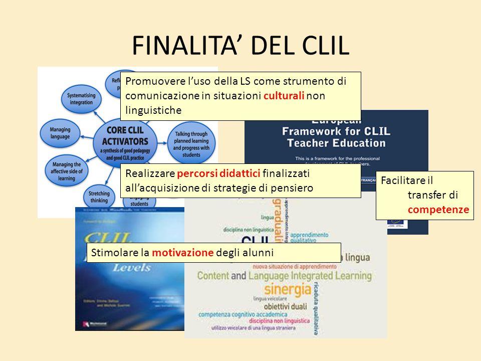 FINALITA DEL CLIL Promuovere luso della LS come strumento di comunicazione in situazioni culturali non linguistiche Facilitare il transfer di competen