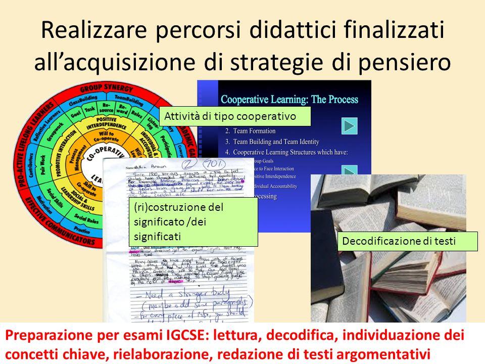 Realizzare percorsi didattici finalizzati allacquisizione di strategie di pensiero Attività di tipo cooperativo Decodificazione di testi (ri)costruzio