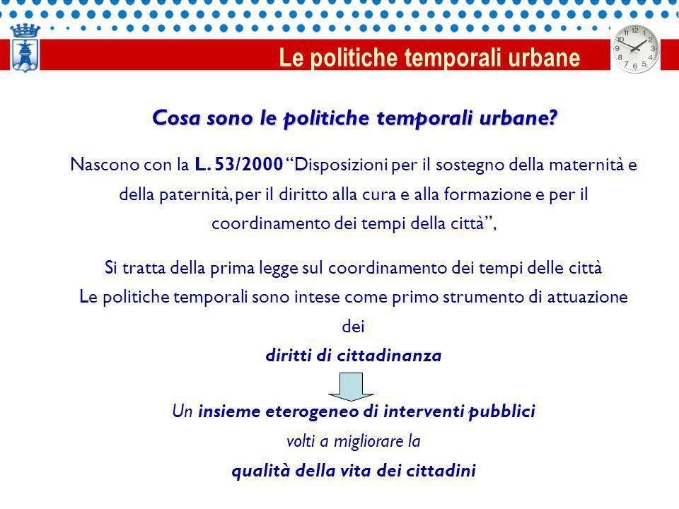 Cosa sono le politiche temporali urbane. Nascono con la L.