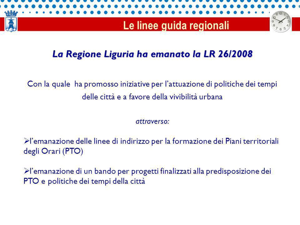 La Regione Liguria ha emanato la LR 26/2008 Con la quale ha promosso iniziative per lattuazione di politiche dei tempi delle città e a favore della vivibilità urbana attraverso: lemanazione delle linee di indirizzo per la formazione dei Piani territoriali degli Orari (PTO) lemanazione di un bando per progetti finalizzati alla predisposizione dei PTO e politiche dei tempi della città Le linee guida regionali