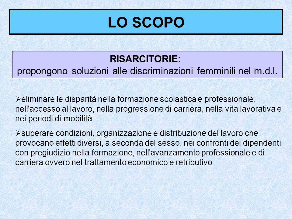 LO SCOPO RISARCITORIE: propongono soluzioni alle discriminazioni femminili nel m.d.l. eliminare le disparità nella formazione scolastica e professiona