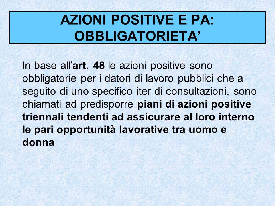 AZIONI POSITIVE E PA: OBBLIGATORIETA In base allart. 48 le azioni positive sono obbligatorie per i datori di lavoro pubblici che a seguito di uno spec