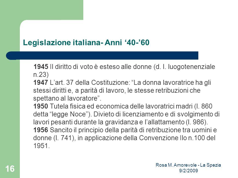 Legislazione italiana- Anni 40-60 1945 Il diritto di voto è esteso alle donne (d. l. luogotenenziale n.23) 1947 Lart. 37 della Costituzione: La donna