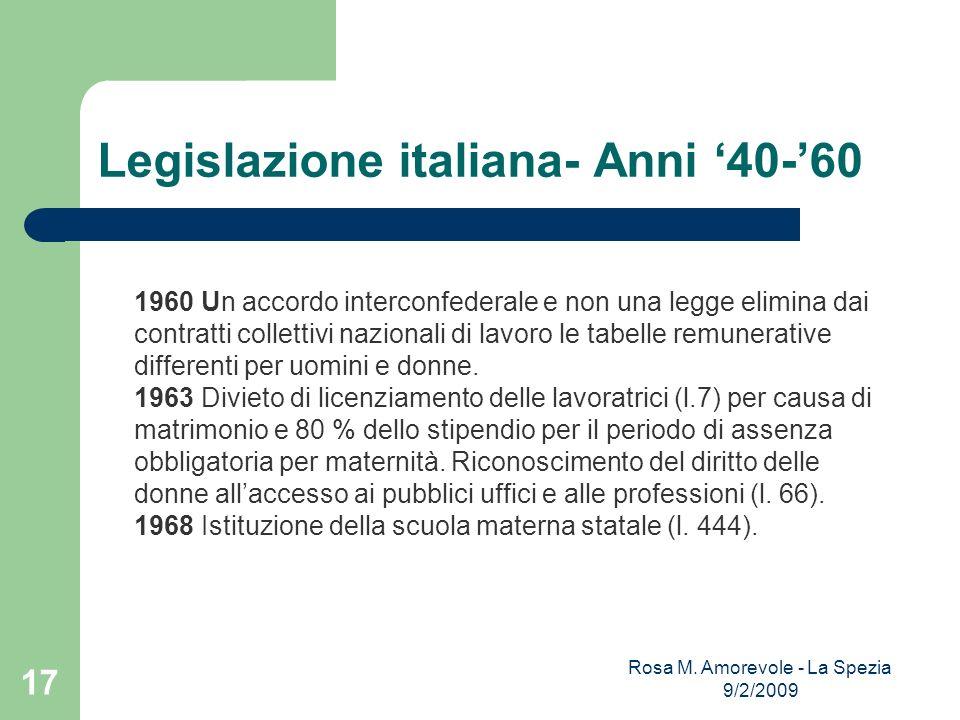 Legislazione italiana- Anni 40-60 1960 Un accordo interconfederale e non una legge elimina dai contratti collettivi nazionali di lavoro le tabelle rem