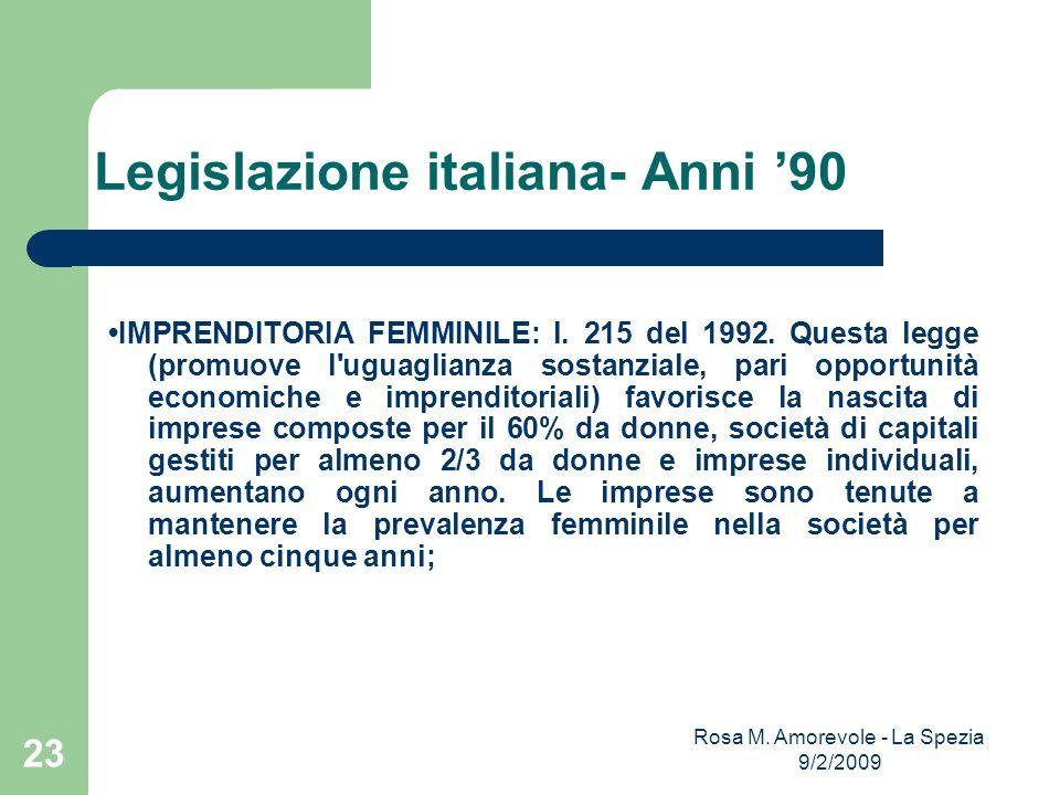 Legislazione italiana- Anni 90 IMPRENDITORIA FEMMINILE: l. 215 del 1992. Questa legge (promuove l'uguaglianza sostanziale, pari opportunità economiche