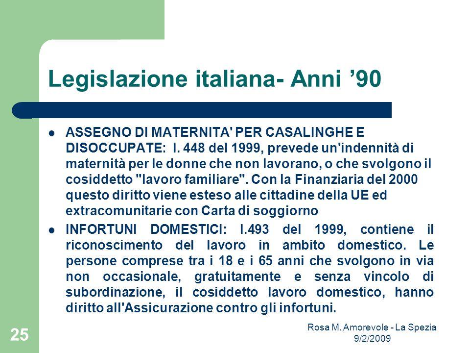 Legislazione italiana- Anni 90 ASSEGNO DI MATERNITA' PER CASALINGHE E DISOCCUPATE: l. 448 del 1999, prevede un'indennità di maternità per le donne che