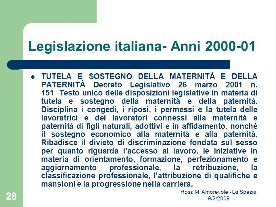 Legislazione italiana- Anni 2000-01 TUTELA E SOSTEGNO DELLA MATERNITÀ E DELLA PATERNITÀ Decreto Legislativo 26 marzo 2001 n. 151 Testo unico delle dis
