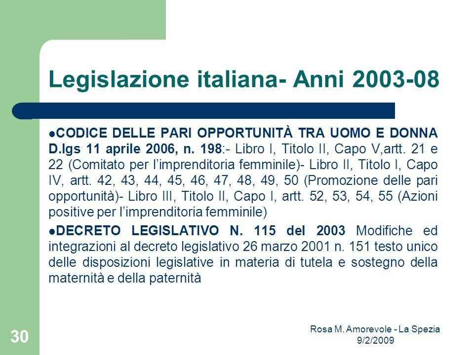Legislazione italiana- Anni 2003-08 CODICE DELLE PARI OPPORTUNITÀ TRA UOMO E DONNA D.lgs 11 aprile 2006, n. 198:- Libro I, Titolo II, Capo V,artt. 21