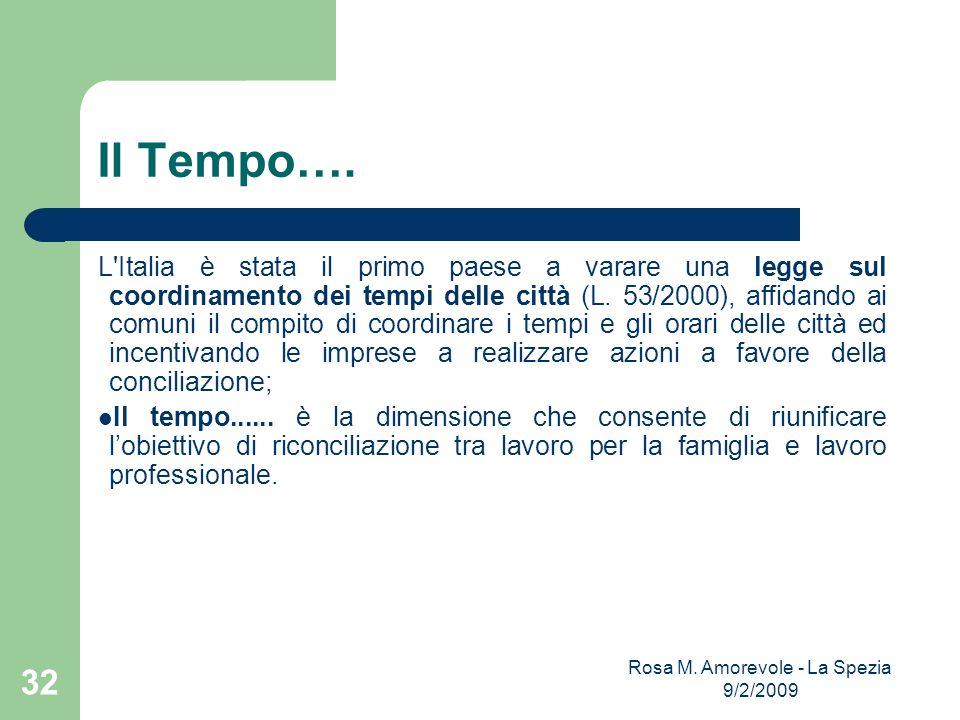 Il Tempo…. L'Italia è stata il primo paese a varare una legge sul coordinamento dei tempi delle città (L. 53/2000), affidando ai comuni il compito di
