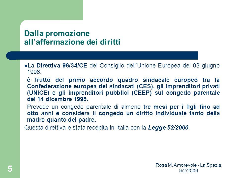 Dalla promozione allaffermazione dei diritti La Direttiva 96/34/CE del Consiglio dellUnione Europea del 03 giugno 1996: è frutto del primo accordo qua