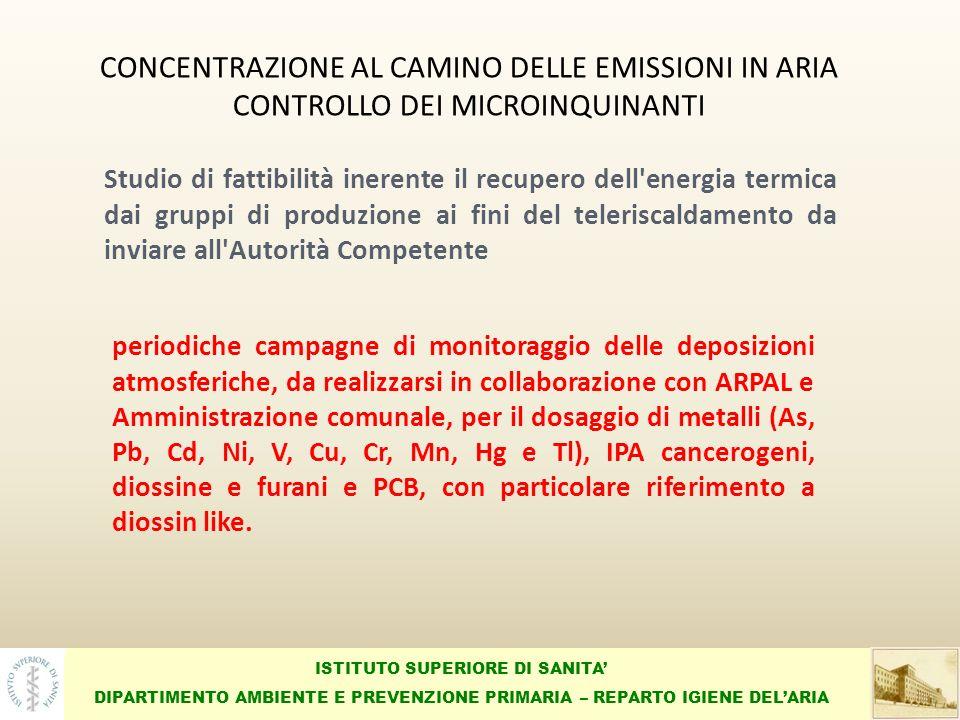 ISTITUTO SUPERIORE DI SANITA DIPARTIMENTO AMBIENTE E PREVENZIONE PRIMARIA – REPARTO IGIENE DELARIA CONCENTRAZIONE AL CAMINO DELLE EMISSIONI IN ARIA CONTROLLO DEI MICROINQUINANTI periodiche campagne di monitoraggio delle deposizioni atmosferiche, da realizzarsi in collaborazione con ARPAL e Amministrazione comunale, per il dosaggio di metalli (As, Pb, Cd, Ni, V, Cu, Cr, Mn, Hg e Tl), IPA cancerogeni, diossine e furani e PCB, con particolare riferimento a diossin like.