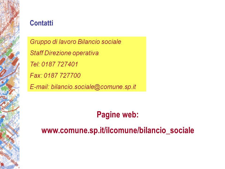 Contatti Pagine web: www.comune.sp.it/ilcomune/bilancio_sociale Gruppo di lavoro Bilancio sociale Staff Direzione operativa Tel: 0187 727401 Fax: 0187 727700 E-mail: bilancio.sociale@comune.sp.it