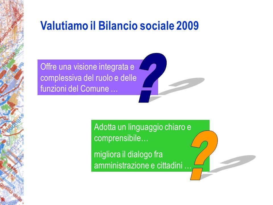 Valutiamo il Bilancio sociale 2009 Offre una visione integrata e complessiva del ruolo e delle funzioni del Comune … Adotta un linguaggio chiaro e comprensibile… migliora il dialogo fra amministrazione e cittadini …