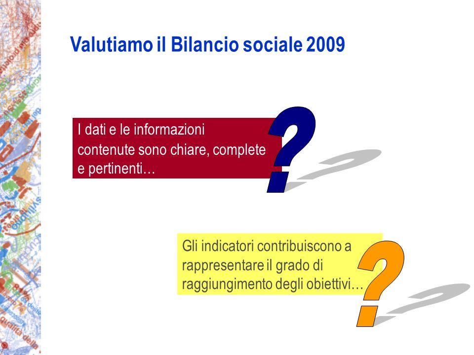 I dati e le informazioni contenute sono chiare, complete e pertinenti… Gli indicatori contribuiscono a rappresentare il grado di raggiungimento degli obiettivi… Valutiamo il Bilancio sociale 2009
