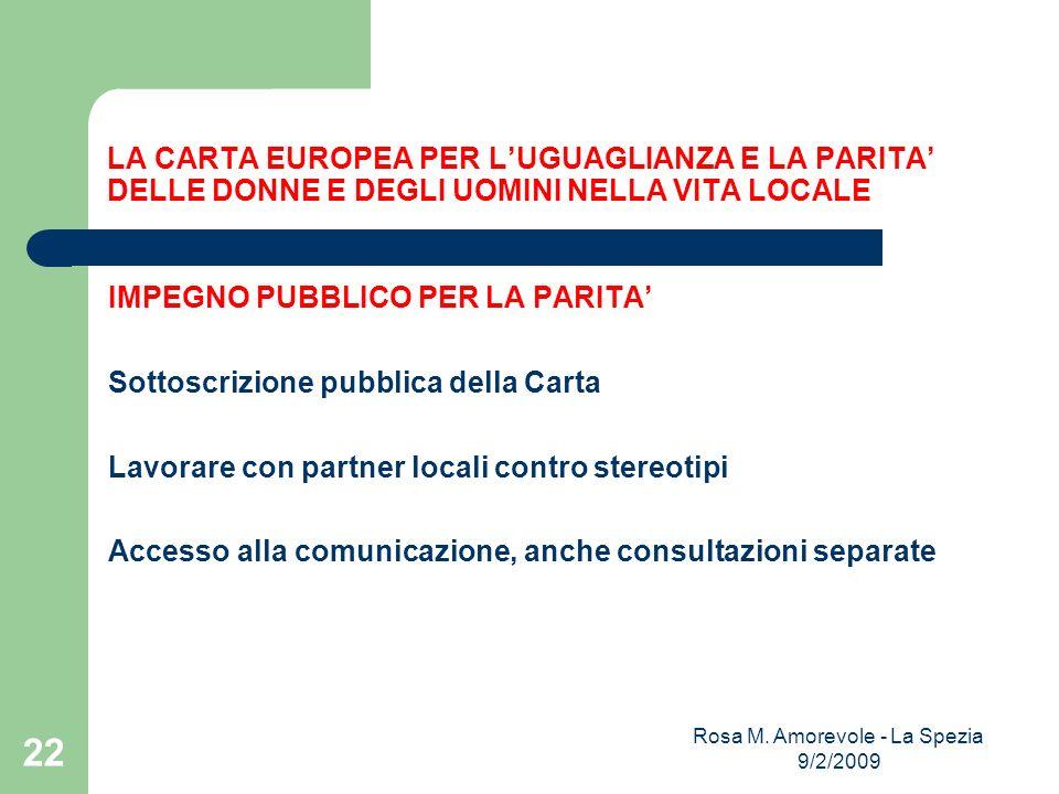 LA CARTA EUROPEA PER LUGUAGLIANZA E LA PARITA DELLE DONNE E DEGLI UOMINI NELLA VITA LOCALE IMPEGNO PUBBLICO PER LA PARITA Sottoscrizione pubblica della Carta Lavorare con partner locali contro stereotipi Accesso alla comunicazione, anche consultazioni separate Rosa M.