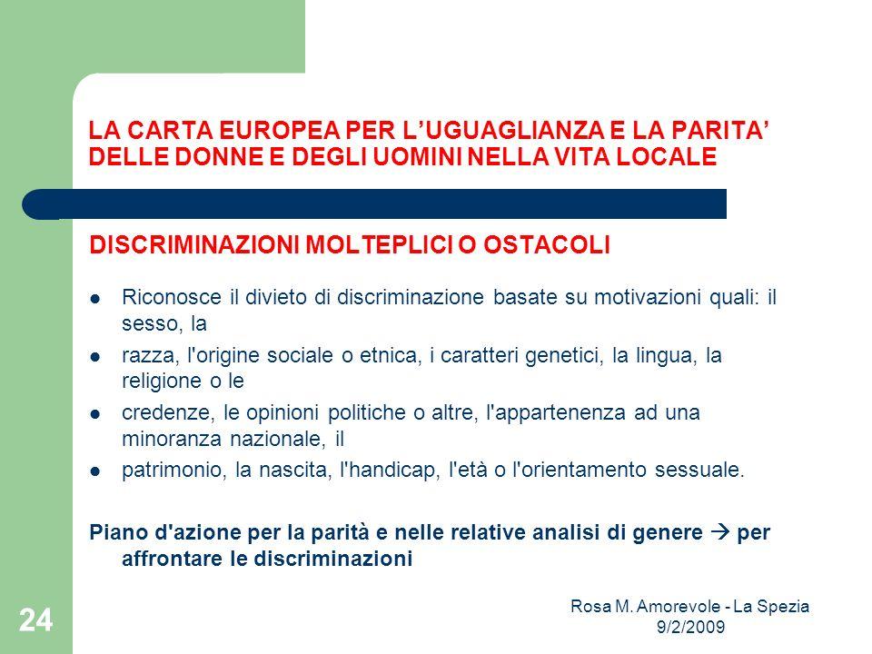 LA CARTA EUROPEA PER LUGUAGLIANZA E LA PARITA DELLE DONNE E DEGLI UOMINI NELLA VITA LOCALE DISCRIMINAZIONI MOLTEPLICI O OSTACOLI Riconosce il divieto