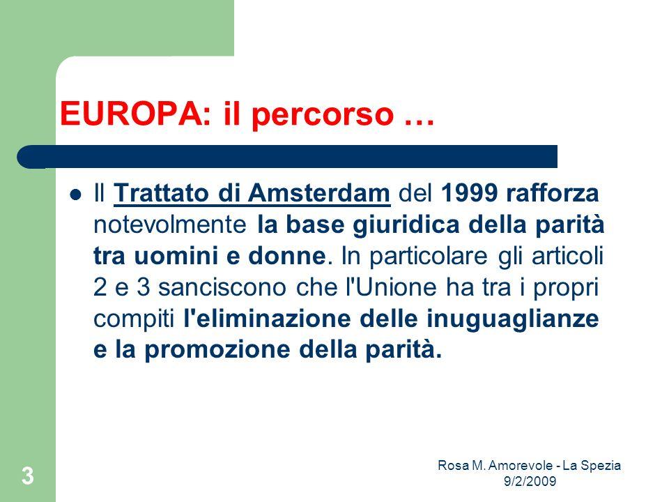 EUROPA: il percorso … Il Trattato di Amsterdam del 1999 rafforza notevolmente la base giuridica della parità tra uomini e donne. In particolare gli ar