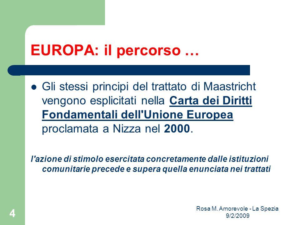 EUROPA: il percorso … Gli stessi principi del trattato di Maastricht vengono esplicitati nella Carta dei Diritti Fondamentali dell Unione Europea proclamata a Nizza nel 2000.Carta dei Diritti Fondamentali dell Unione Europea l azione di stimolo esercitata concretamente dalle istituzioni comunitarie precede e supera quella enunciata nei trattati Rosa M.
