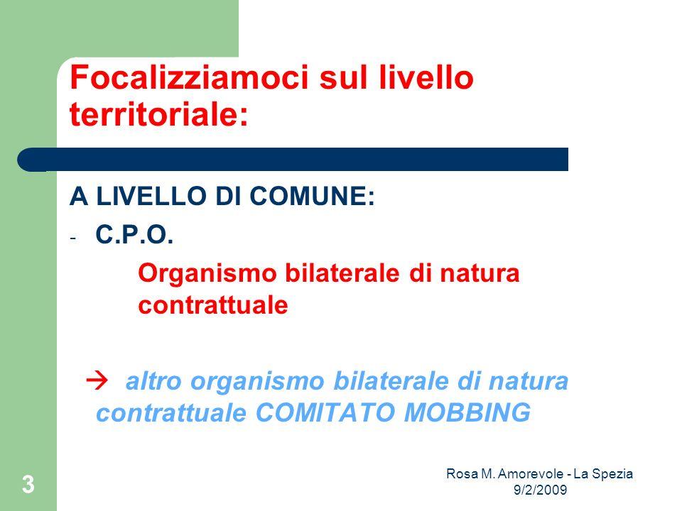 Focalizziamoci sul livello territoriale: A LIVELLO DI COMUNE: - C.P.O.
