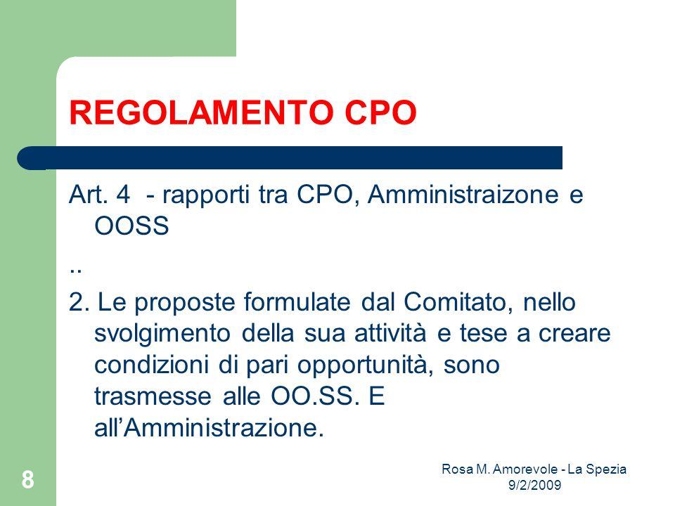 REGOLAMENTO CPO Art. 4 - rapporti tra CPO, Amministraizone e OOSS..